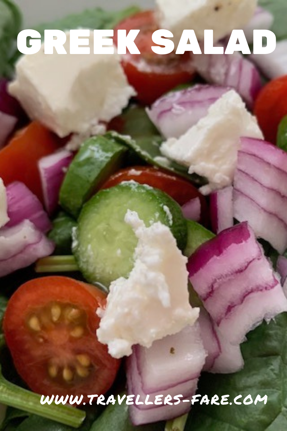 Greek Salad With Lettuce, Tomato, Red Onion, Cucumber and Feta.