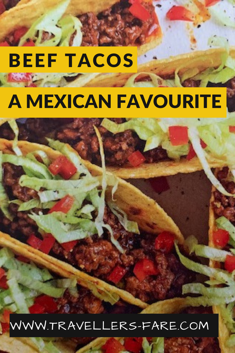 Tacos. Hard Shell Filled With Beef Spiced Mince Topped With Lettuce And Cheese.