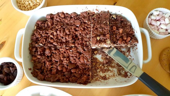 Rocky Road. A Chocolate Made With Cacao, Marshmallows And Nuts.