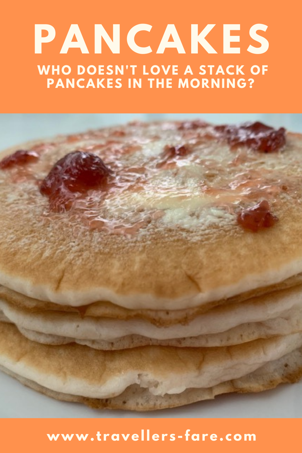 A Stack Of 4 Pancakes With Butter And Strawberry Jam.