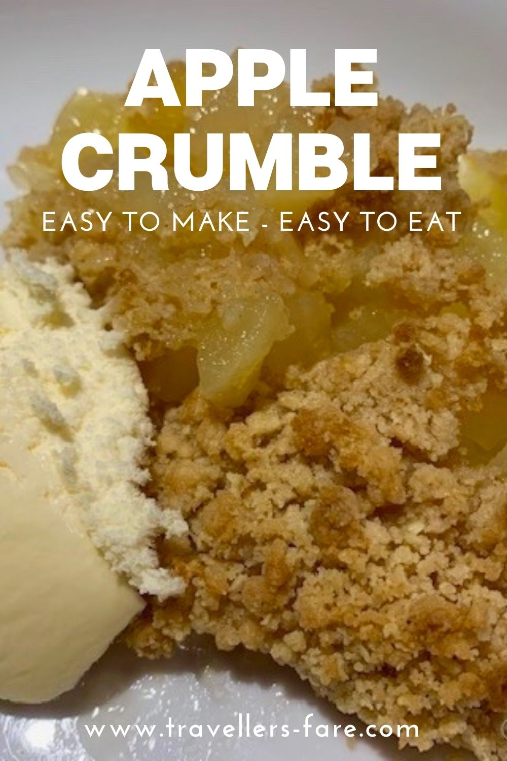 Apple Crumble Made From Stewed Apples With A Crumbly Topping Served With Ice Cream Pin.