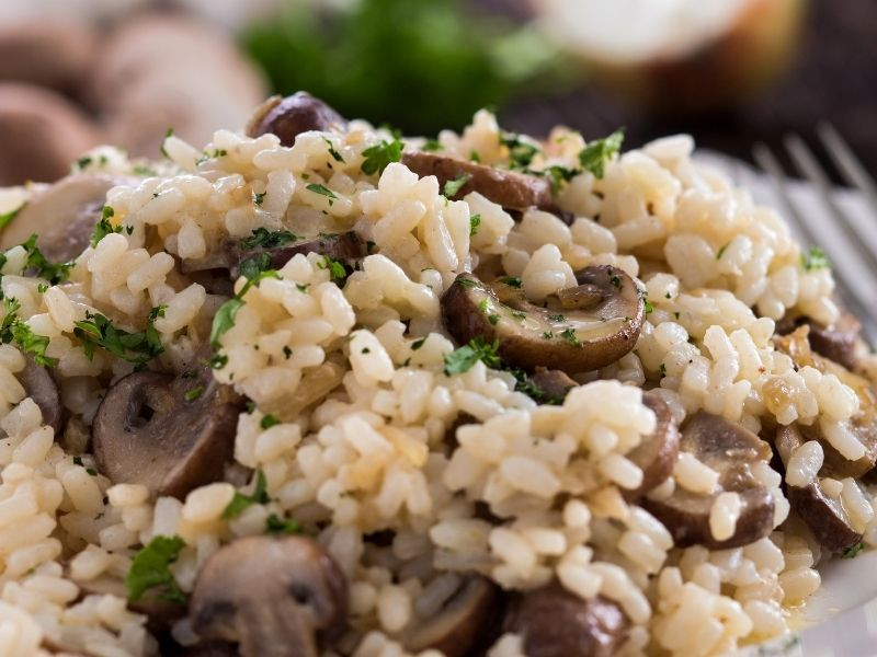 Mushroom Risotto Is Made From Arborio Rice, Vegetable Stock And Mushrooms. Together These Ingredients Make Mushroom Risotto.