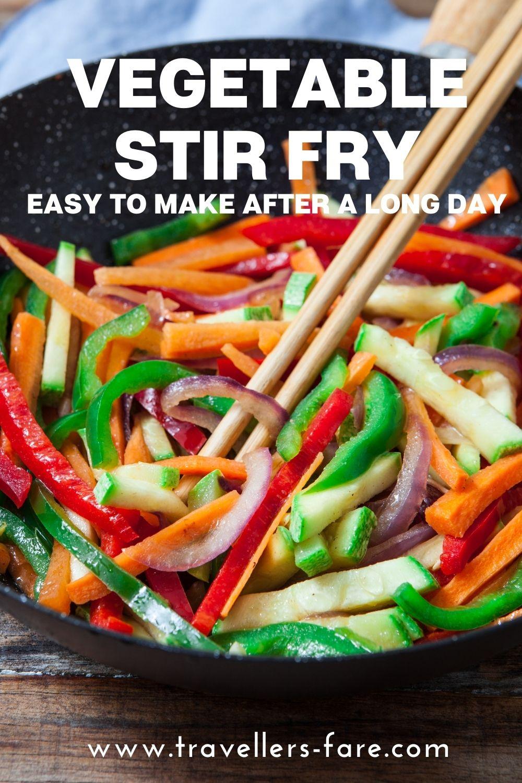 Vegetable Stir Fry Recipe Pin. Packed Full Of Vegetables: Carrot, Capsicum, Mushrooms.