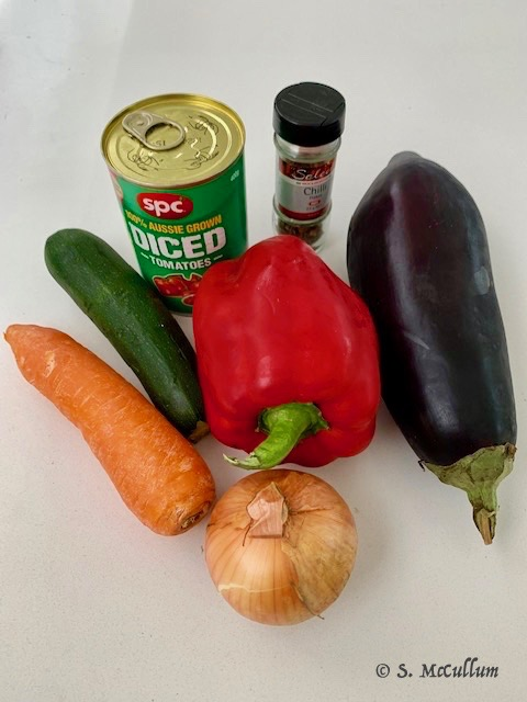 Vegetables, Eggplant, Red Pepper, Zucchini, Carrot, Onion And A Can Of Tomatoes Make A Great Ratatouille.